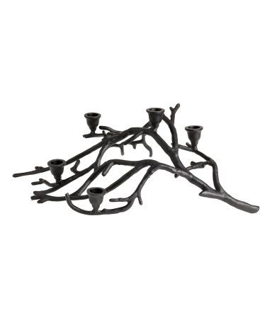 Black. Large, metal, branch-shaped candlestick with five candle holders. Height approx. 6 1/4 in., length 20 3/4 in.