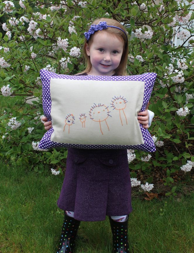 Take your child's drawing of your family, embroider it and turn it into a pillow! Lots of other great ideas!