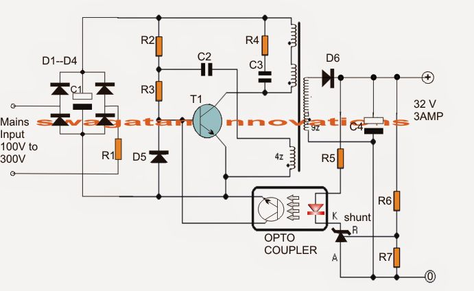 the article shows a 32v  3 amp smps circuit which may be