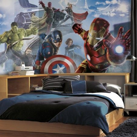 Create a dramatic scene in a room with our Avengers: Age of Ultron Wallpaper Mural.