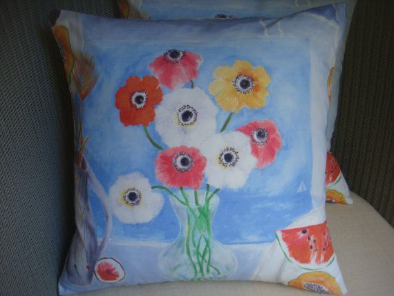 Painted table pillow cover, sanderson fabric, �10.50