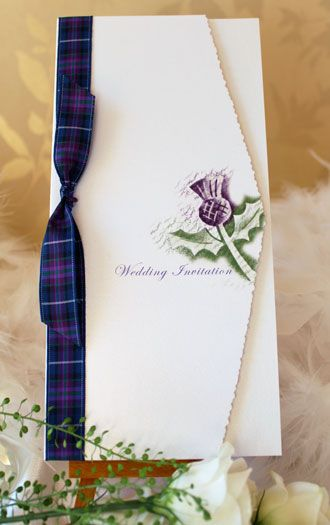 Handmade contemporary Scottish Thistle wedding stationery range. Celtic and Tartan designs with thistles, ribbons and embellishments