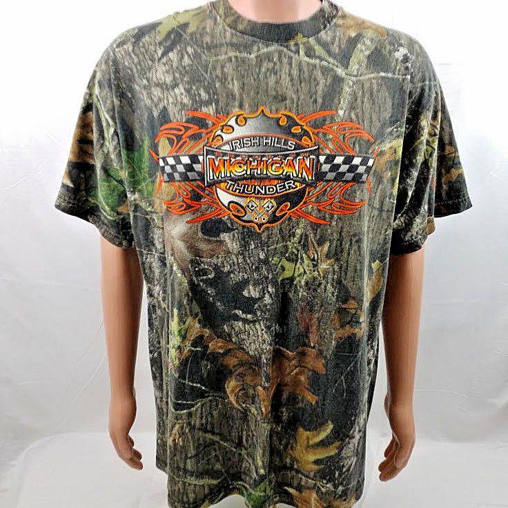VTG 90s NASCAR Brooklyn Michigan Irish Hills Thunder Tshirt Camo 2Xl Rare #Johnnys #GraphicTee