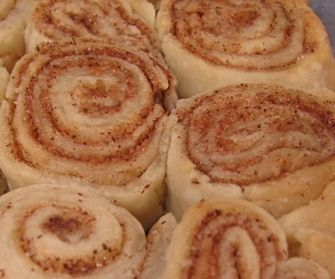 Cinnamon roll ups made with extra pie crust.   My mom used to do this with us....totally forgot about it!