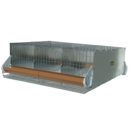 Compact cage for quail or other small birds. Sections 10 w x 24 d can hold up to 4 quail. Feed trough on front; water trough on rear. Galvanized steel. Sloped floor permits eggs to roll out under the feed trough. Measurement 30 wide x 24 deep x 10 high. floor mesh 1/2 x 1.