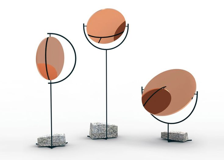 Hoy hablaremos del cobre y sus propiedades reflectantes: Interesante serie de espejos pivotantes hechos con lámina de cobre e inspirados en el sistema solar. Creada por el estudio de diseño noruego Hunting and Narud en 2013. #MWMaterialsWorld #cobre #copper #HuntigandNarud