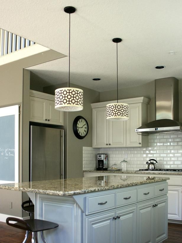 Create Contemporary Kitchen Island Lighting With Easy To Make Custom  Fabric Covered Shades