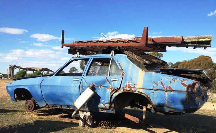 HQ Holden sedan.Broke down on the Nullabour Plain. Got towed to a fella's place. Been there ever since. www.stumpandrail.com May 8