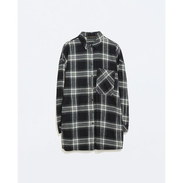 Zara Oversized Checked T-Shirt ($20) ❤ liked on Polyvore featuring tops, t-shirts, flannel, plaid, shirts, tartan t shirt, oversized plaid shirt, flannel t shirt, tartan plaid flannel shirt and zara shirt