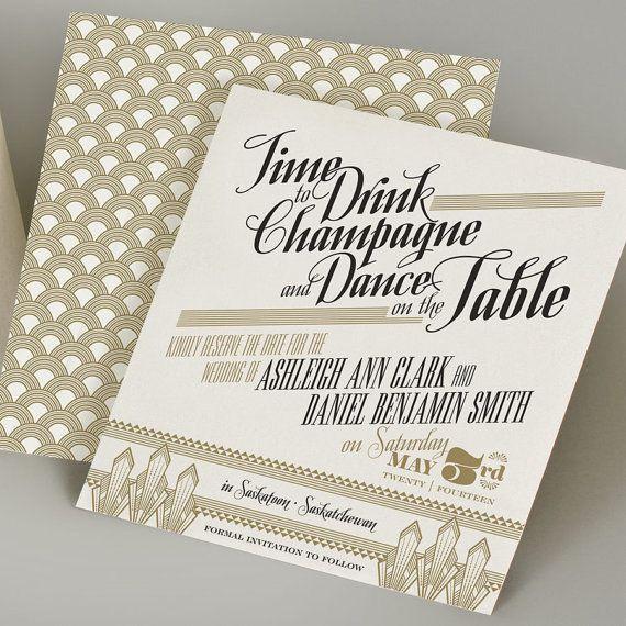 Gatspy Inspired Save The Dates. Art Deco Wedding InvitationsGatsby ...