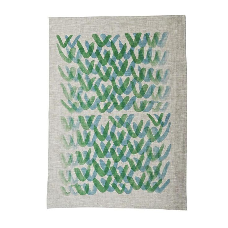 Vs Blue Green - 100% oat linen teatowel hand screen printed in Melbourne $35   Bonnie and Neil