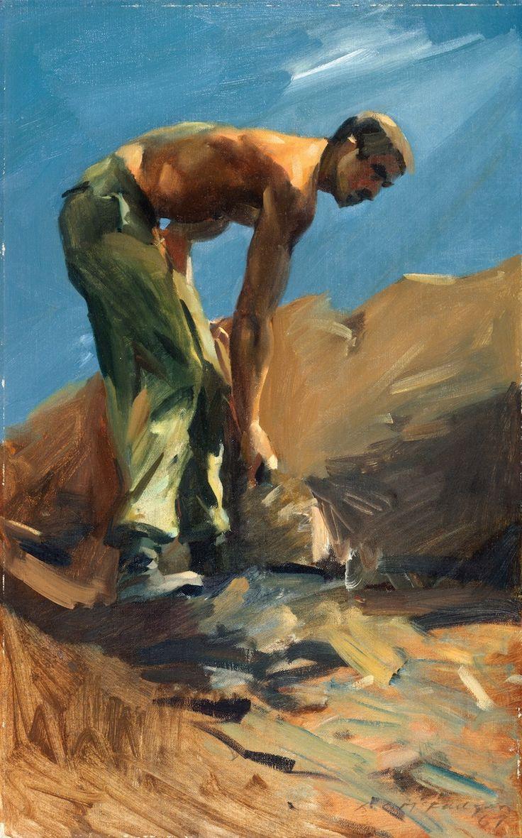 McFadyen, Ken 'Digging in', Thua Tich, Vietnam 1967, oil on canvas on hardboard  #kenmcfayden #vietnamoncanvas #sandrafingerlee #vietnamwar #warart