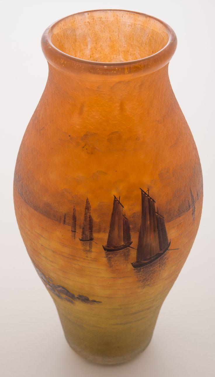 Lot #7 - Daum Nancy Sailboats at Sunset Vase - Manifest Auctions
