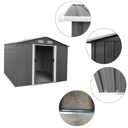 8.5'x6.8'x6.3′ Storage Shed, Yard and Outdoor Storage for Tools, Lawn Equipment, Pool Toys