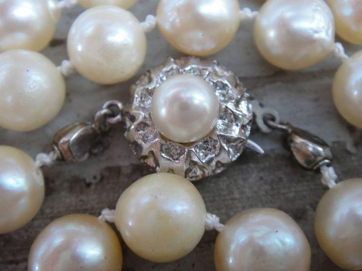 Akoya Perlenkette 101 cm lang 104  Akoya Perlen 7,5 mm mit Orientschimmer