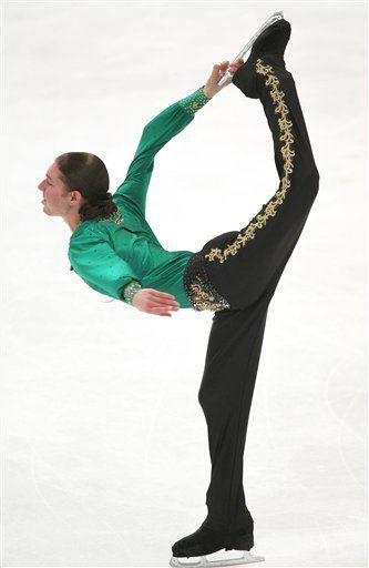 Jason Brown (2013 TEB), figure skater, executing a perfect Biellmann