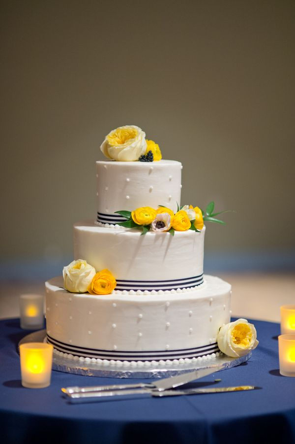 Yellow And Navy Buttercream Cake Would Be Nice With Grey Ribbon Instead If The Navy