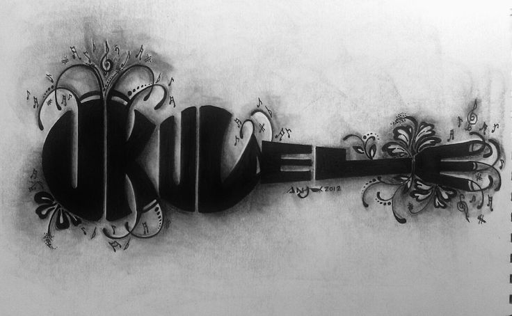 "Musical Word Art ""Ukulele"" Drawn by: Art by Anj"