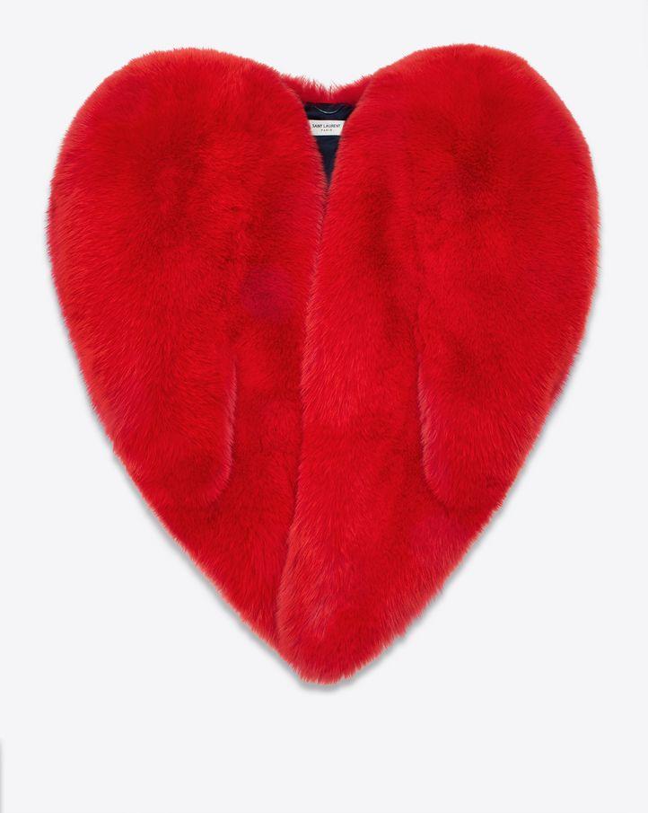 Saint Laurent Heart Cape in Red Fox Fur
