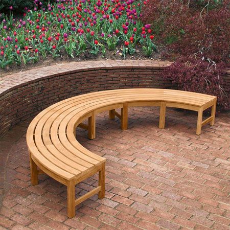 curved backless teak garden bench from Country Casual