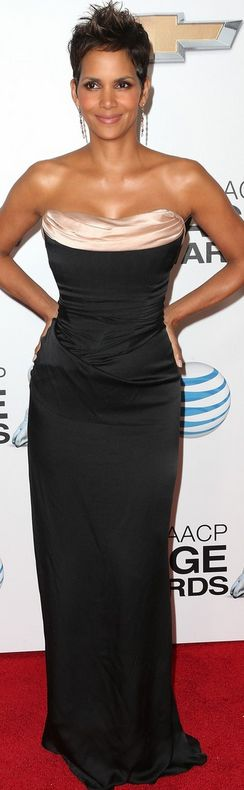 Who made Halle Berry's black and pink strapless gown that she wore in Los Angeles on February 1, 2013?