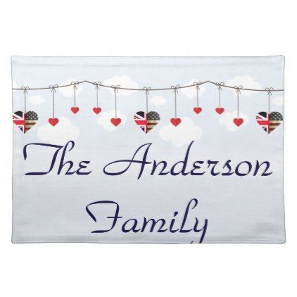 British American Love Hearts Placemat  $13.70  by Creative_Weddings  - custom gift idea