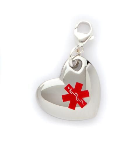 I never wear my medic alert bracelet, but I would attach this to my Tiffany's charm bracelet. I wear it day in and day out, removing only for MRIs and PET scans, so I'd never have to worry about forgetting again! [This pin description was written by Libbi Diane Flynn]