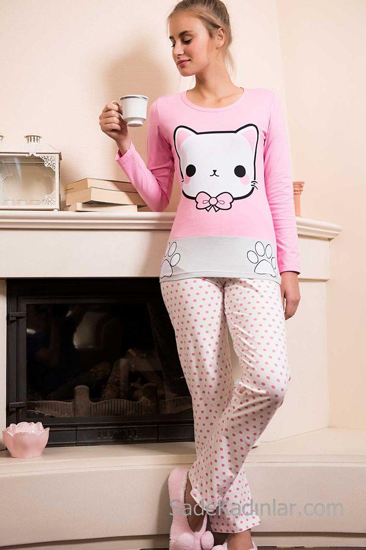 2018 Pijama Takımları Pembe Puantiyeli Hello Kity Desenli