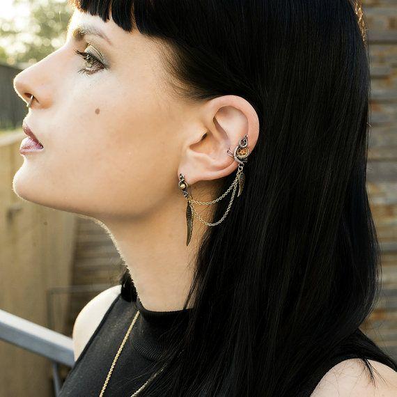 Steampunk Ear Cuff Piercing  Dangle Titanium by MayaHandmade
