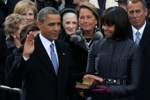 U.S. President Barack Obama is sworn in during the public ceremony. First Lady Michelle holds the Bible on which the President's hand is resting. Transcript of the President's 2nd Inaugural Speech: http://sojo.net/blogs/2013/01/21/transcript-president-obamas-inauguration-speech?utm_source=feedburner_medium=feed_campaign=Feed%3A+sojourners%2Fblog+(Sojourners+Blog+Feed)     #AWESOME!