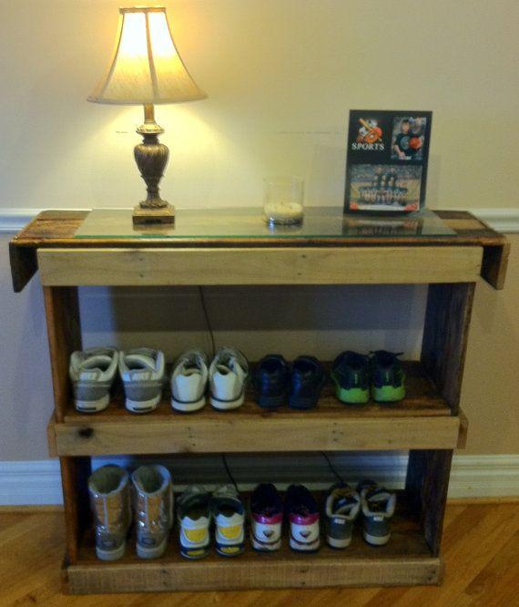 Rustic reclaimed pallet furniture shoe shelf book by Kustomwood