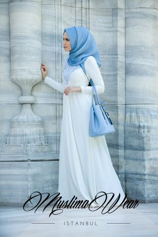 Muslima Wear Floral embroidery White Cream Dress Size S    the last one