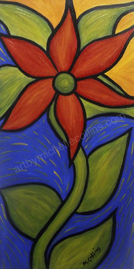 Bright Flower Painting 12x24 Acrylic On Canvas