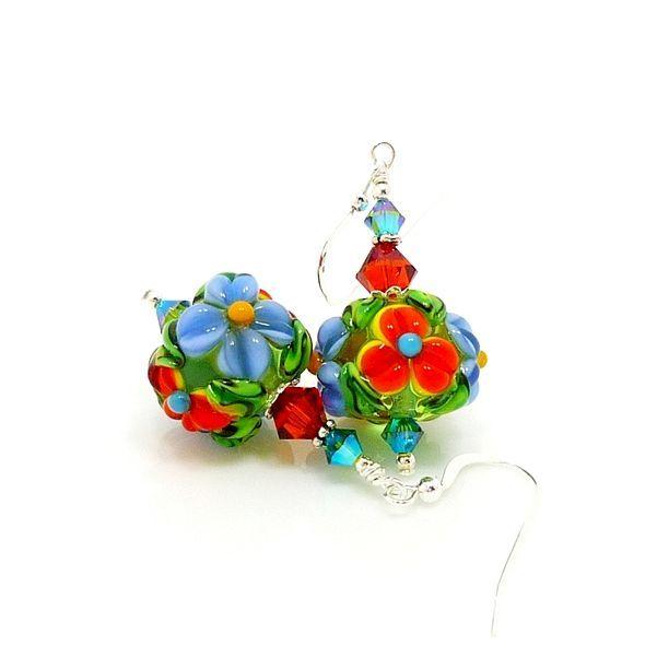 Blue and Orange Floral Lampwork Earrings