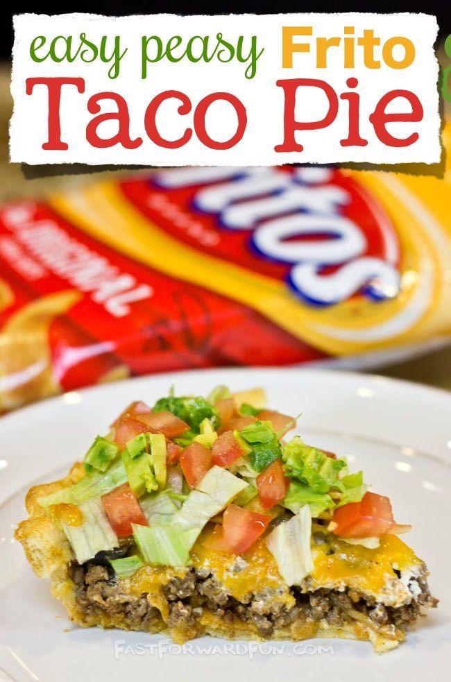 Easy Frito Taco Pie With A Crescent Dough Crust