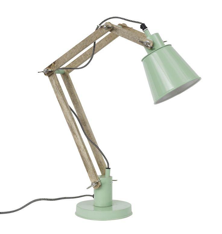 Lámpara de metal y pie de madera retro