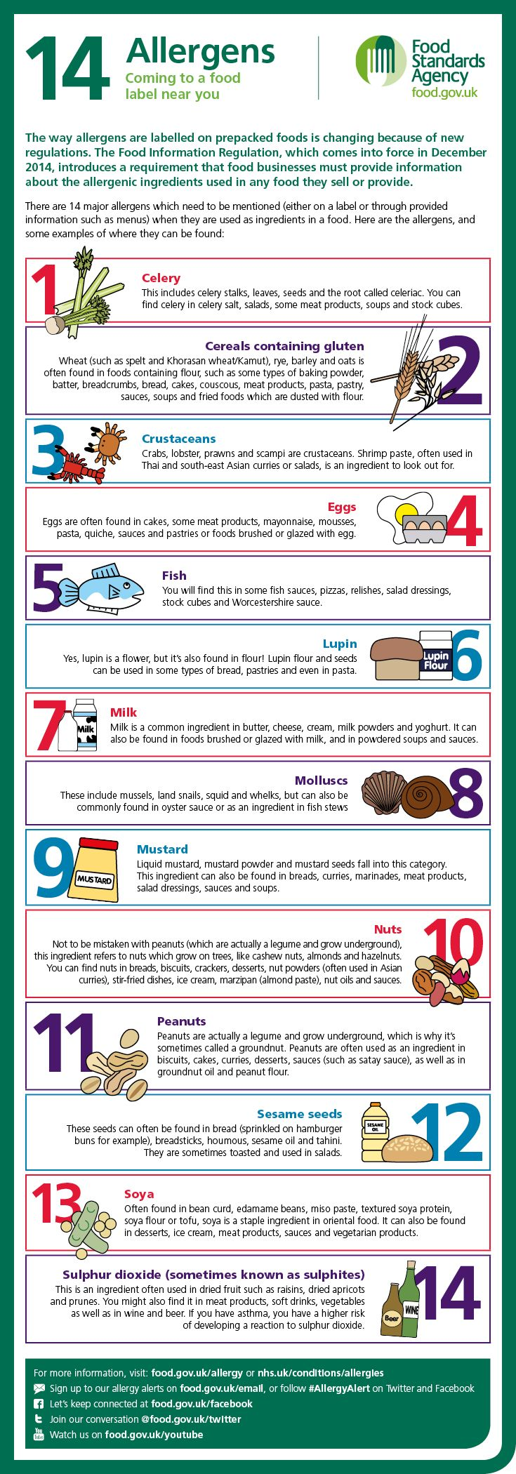 Infographic showing the 14 major food allergens. You can sign up to UK Food Standards Agency allergy alerts at food.gov.uk/email or follow #AllergyAlert on Twitter.   Print-friendly version of infographic: www.food.gov.uk/sites/default/files/top-allergy-types.pdf
