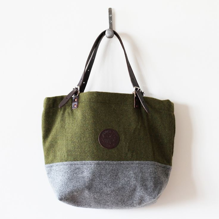 Duluth Pack Foot Soldier Wool Market Tote - Olive/Gray  Faribault Mill