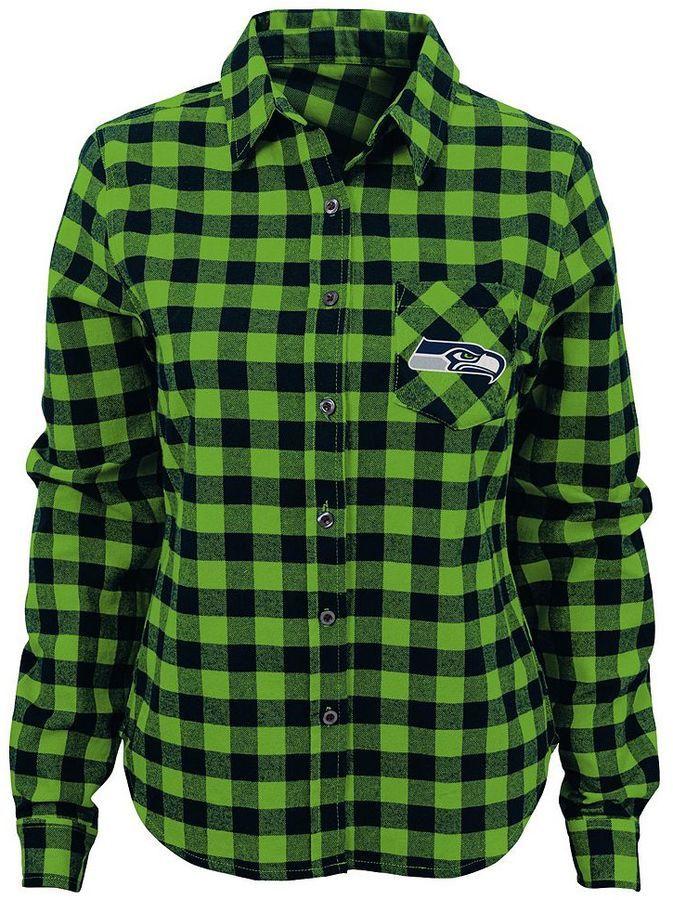 Juniors' Seattle Seahawks Buffalo Plaid Flannel Shirt