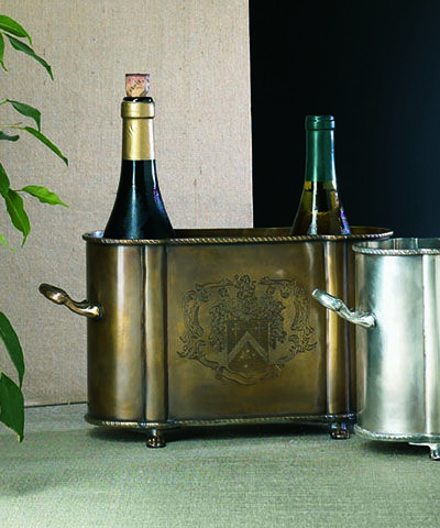 Antique Brass Double Bottle Holder