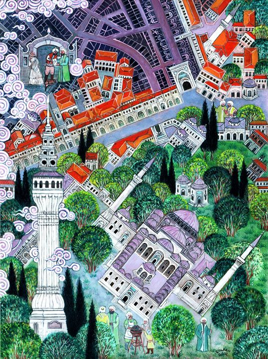 Beyazid by Nusret Çolpan. Nusret Çolpan (October 1, 1952 – May 31, 2008) was a Turkish painter, architect and miniaturist, renowned for his paintings in Ottoman miniature style depicting cities around the world, particularly Istanbul.