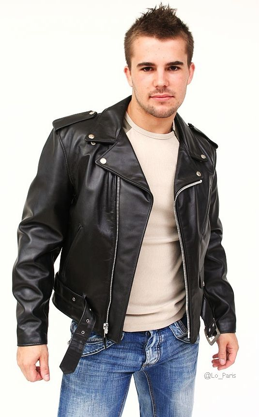 Leather greaser jacket
