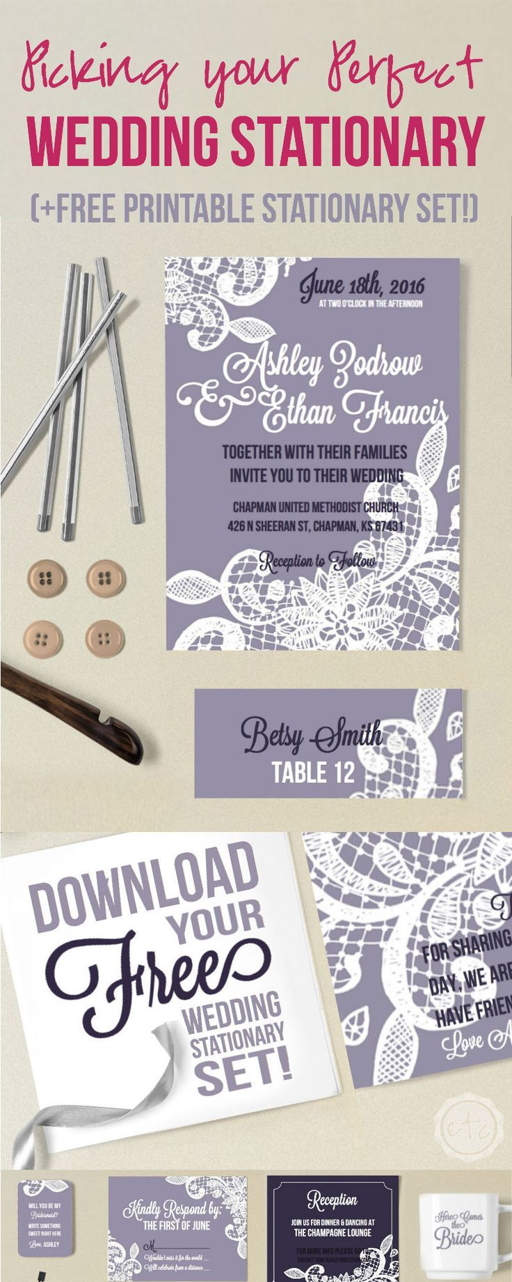 Picking your Perfect Wedding Stationary Free Printable