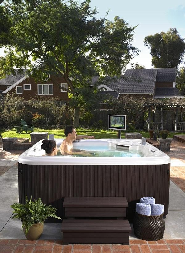 64 best hot tubs spas decks images on pinterest. Black Bedroom Furniture Sets. Home Design Ideas