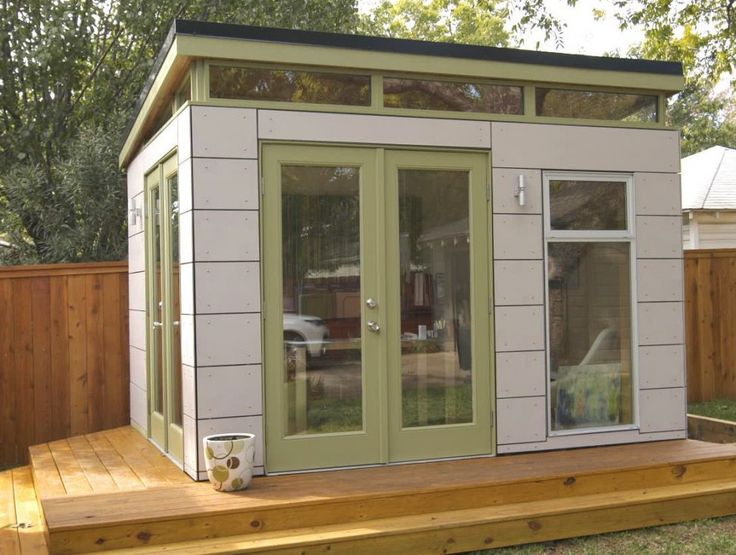 Exterior. Breathtaking Prefab Sheds Inspiring Designs. Beautiful Prefab Sheds Feature White Stained Wooden Prefab Office Shed And Clear Glass Door With White Broken Stained Wooden Frame Plus Clear Glass Window With White Stained Wood Frame Together With Light Oak Wood Deck Flooring