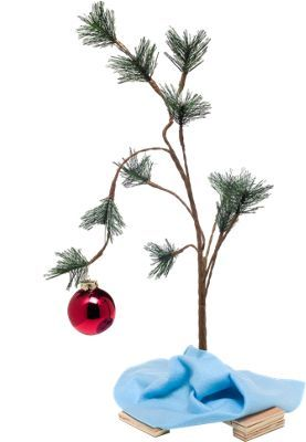 Charlie Brown Christmas tree with bendable wire branches, plastic needles, and one lonely glass ornament. Replica of Charlie Brown's tree from the classic Peanuts TV special.