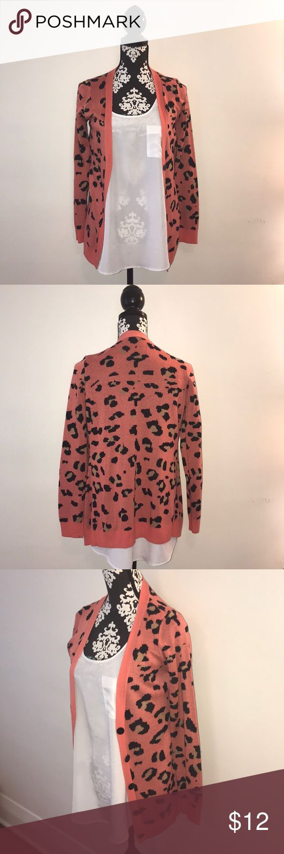 Pink Cheetah Print Cardigan Long Cardigan with very cute print. Super comfy and worn once Charlotte Russe Sweaters Cardigans