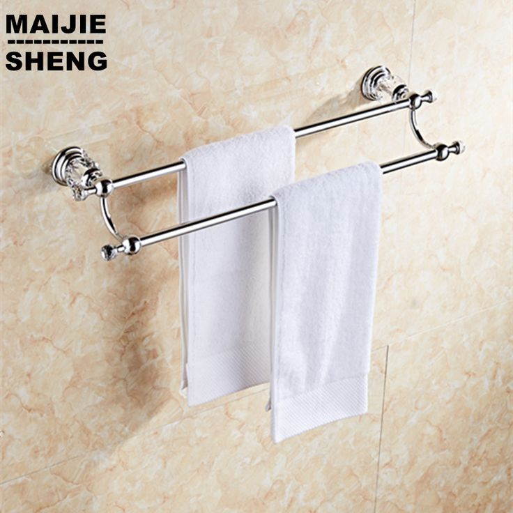 Luxury chrome crystal double towel rack holder European golde double towel bar towel rack bathroom towel shelf #Affiliate