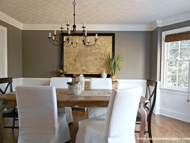 Benjamin. Moore Chelsea Gray And Benjamin. Moore Simply White Woodwork   Dining  Room?