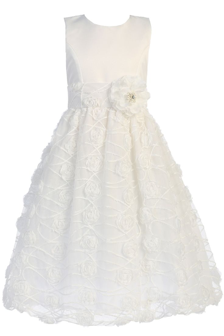 Chiffon Flowers on Whtie Satin & Tulle First Holy Communion Dress ( Girl's Sizes 6 to 12 - 8X to 12X )